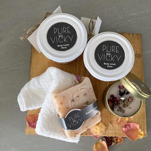 Romantiek kado pakket Kado butter, scrub groot, zeep, kaars-2