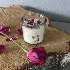 Koolzaadwas kaars- natuurlijke kaars - handgegoten - handgemaakt - ambachtelijk gemaakt - roos