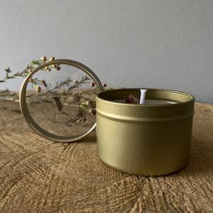 Koolzaadwas kaars- natuurlijke kaars - handgegoten - handgemaakt - ambachtelijk gemaakt -blikje take it easy lavendel