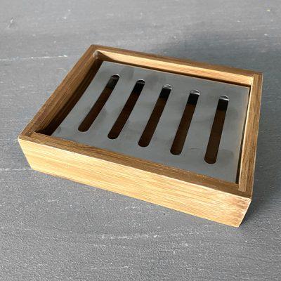 Bamboe zeepschaal zeepbakje met rvs-boven-LR Vnatuurlijke handgemaakte zeep