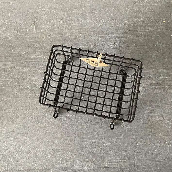 zeepbakje staand zwart ijzer - natuurlijke ambachtelijke zeep-zij leeg